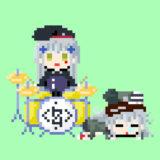 【GIFアニメ】ドラムを叩く416と眠りながらケツでリズムをとるG11